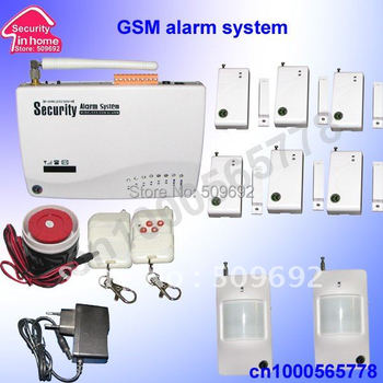 wireless home security GSM alarm system with 6pcs window/door sensor + 2 PIR 900/1800/1900MHZ Russian manual free shipping