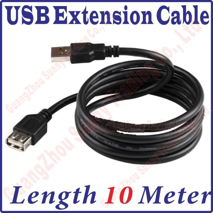 Best Price, 1000CM Long USB 2.0 Male to Female Extension Extended Black Data Cable 10M 10meter length USB Extension Cable(China (Mainland))