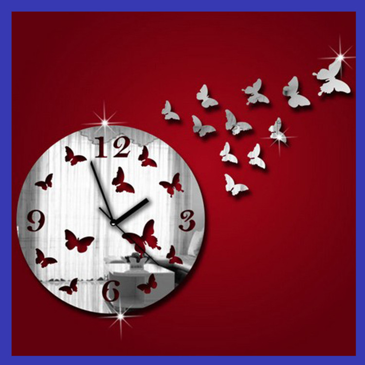 Acquista all 39 ingrosso online orologio da parete farfalla for Orologio stickers