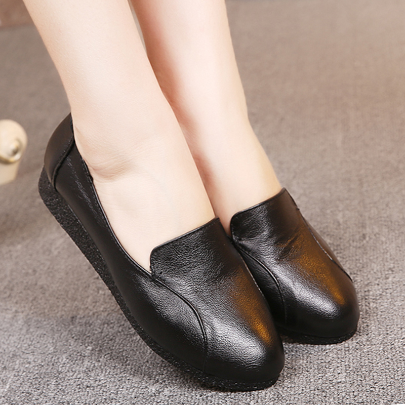 2016 autumn woman Flat solid color mother flat heel soft outsole women shoes genuine leather slip-resistant casual female flats(China (Mainland))