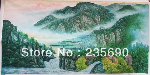 Moutain Hand-painted WallArt Home/Company/Hotel decoration Traditional Chinese Modern Landscape oil painting on canvas 24*48inch(China (Mainland))