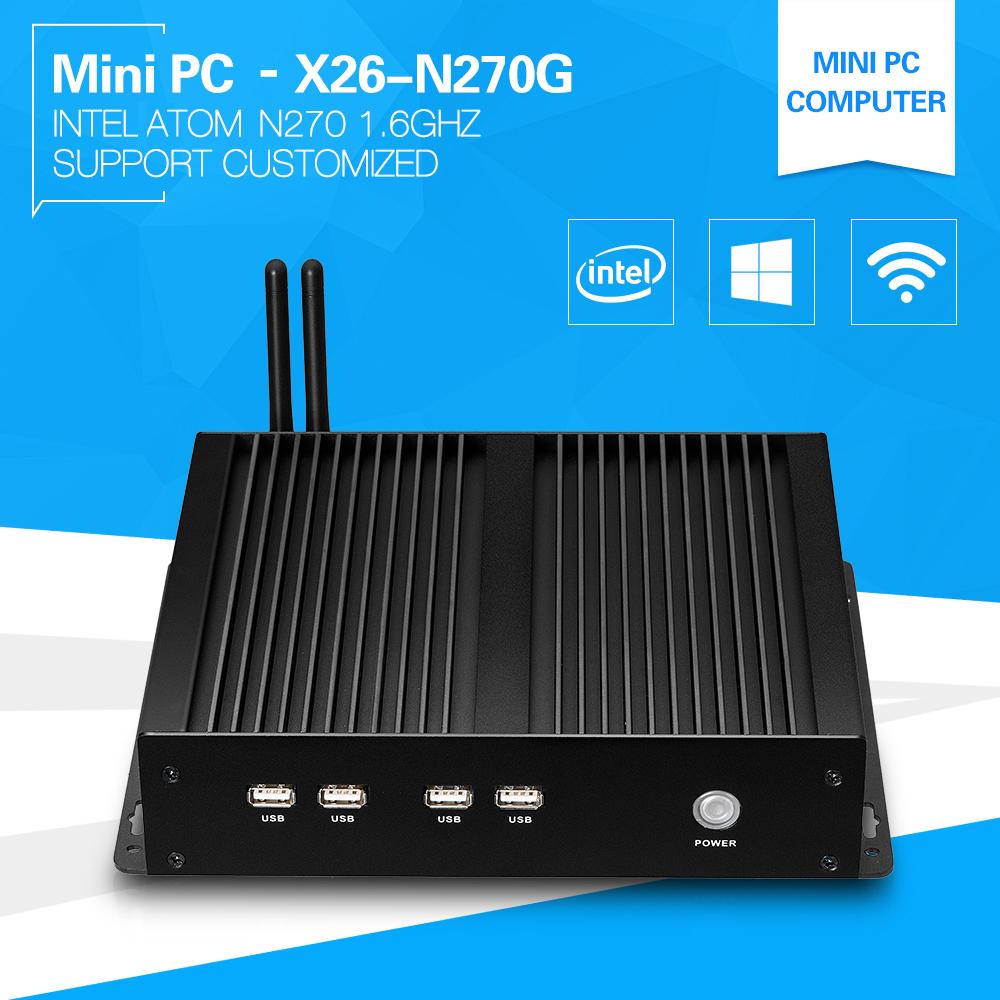 Newest Mini PC Windows XP Atom N270 Single Core 1.6GHz Industrial Barebone Computer Build-in-wifi Fanless 1*lan 2*com Server(China (Mainland))