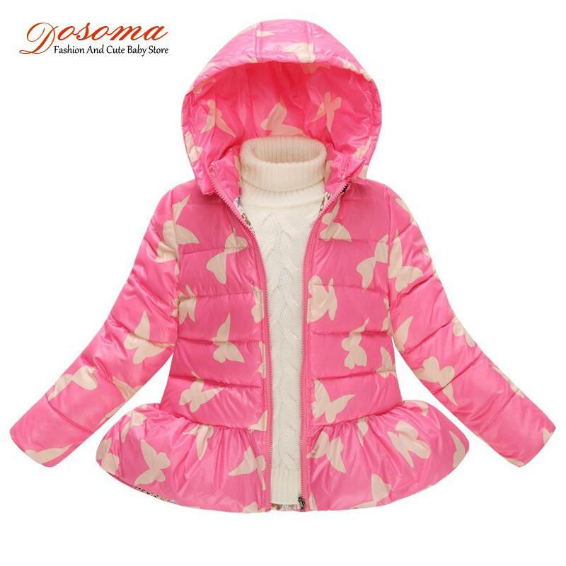 2015 winter thick Children Butterfly print Down Hooded jacket coat kids girls Parkas jacket suit kids outwear coat age 3-8Y