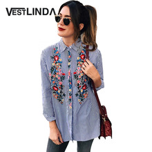 Buy VESTLINDA Casual Floral Embroidery Women Blouse Shirt 2017 Long Sleeve Turn Collar Blusas Tops Striped Femme Loose Blouse for $12.20 in AliExpress store