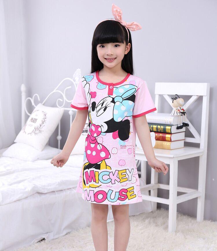 Minnie Girls Nightgown Pizama For Kids Children's Night Gowns Girls Summer Pajamas Dress Baby Girl Nighties Sleeping Dress(China (Mainland))
