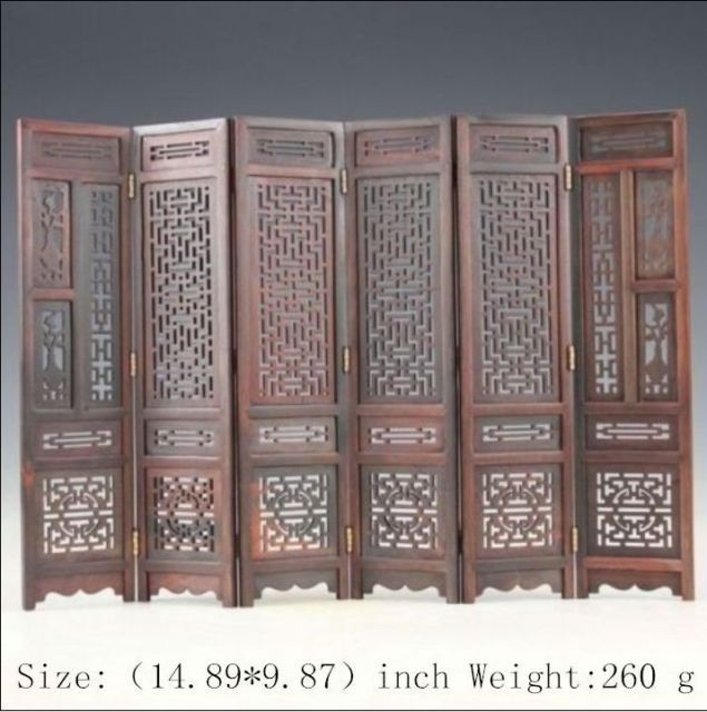 14.89 inch / Hand carved Chinese collection mahogany hardwood wings wood screen(China (Mainland))