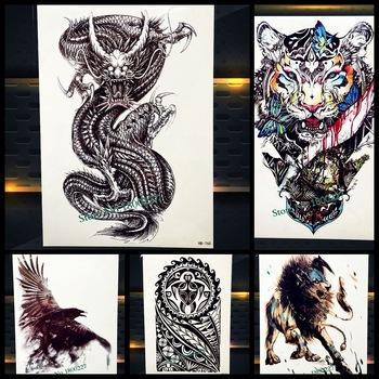 Disposable Black Large Dragon Design Temporary Tattoo For Women Men Arm Leg Fake Tatoo Body Back Art Waterproof Tattoo Stickers