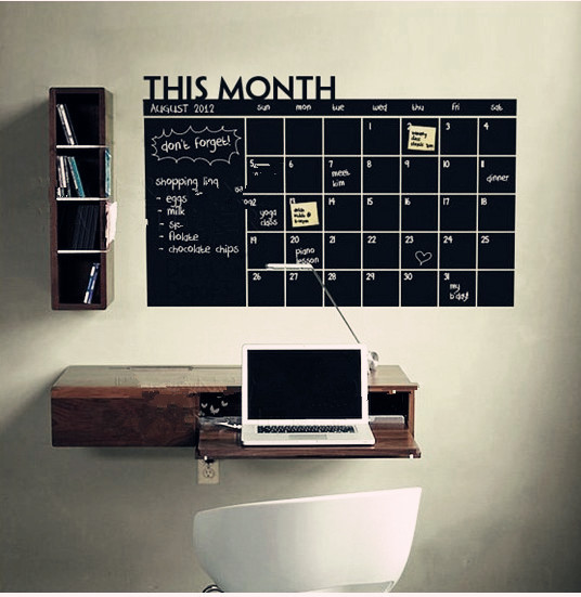 Monthly chalkboard calendar Vinyl Wall Decal Removable Planner mural wallpaper vinyl Wall Stickers 64*100CM *(China (Mainland))