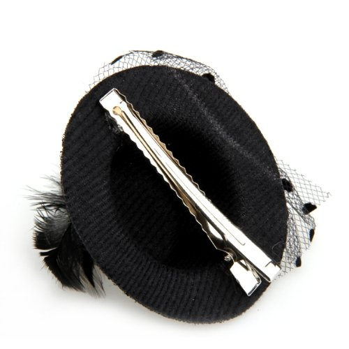 Cool Fashion Feather Net Bow Hair Clip Black Mini Top Hat Party Lolita Cosplay Goth(China (Mainland))