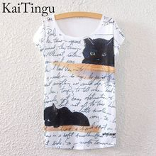 Buy KaiTingu 2016 Brand New Version Fashion Summer Harajuku Short Sleeve Women T Shirt Tops Letter Cat Print T-shirt White Cloth for $6.30 in AliExpress store