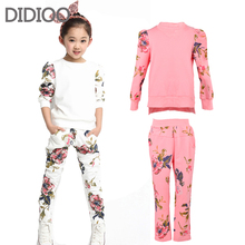 Girls autumn sets baby outfits kids clothes long sleeve floral print pullover top & sprot pants children clothing set size 2-14(China (Mainland))