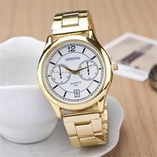 Hot gota venta relogio masculino reloj de cuarzo, oro correa de acero relojes mujer. romano dial de ginebra mujeres del reloj digital