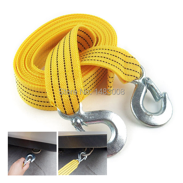 Hot Sell 3 Tons Car Tow Cable Towing Strap Rope With Hooks Emergency Heavy Duty High Quality(China (Mainland))