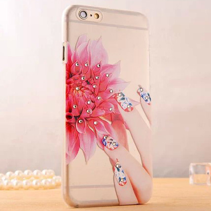 Beautiful Pink Flower Matte Transparent PC Phone Back Cover Glitter Rhinestone Diamond Phone Case For iPhone 5 5S Cell Phones(China (Mainland))