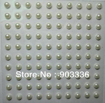 5mm self-adhesive pearl stickers,100pcs/sheet,creamy color, wholesale scrapbooking stickers,Diary mobile sitckers, Free Shipping