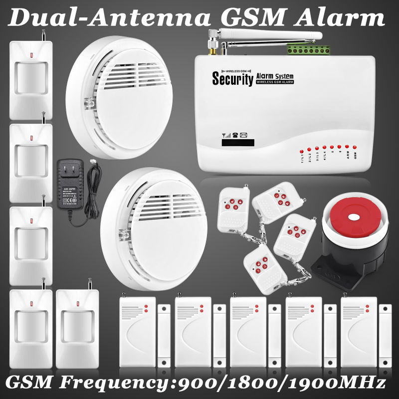 Two-antenna Real Voice Prompt ~ Most Cost-Effective Wireless Home Intelligent Burglar GSM Voice Alarm System 900/1800/1900Mhz