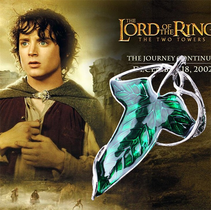 the hobbit necklace elf green leaf necklace broochss pin pendant for men and women wholesale(China (Mainland))