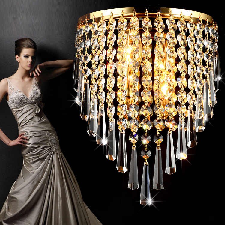 Free Shipping Crystal Wall Lamps 2 Lights E12 E14 Chrome or Gold Plating Clear Crystal Bed Room Hallway Wall Sconces<br><br>Aliexpress