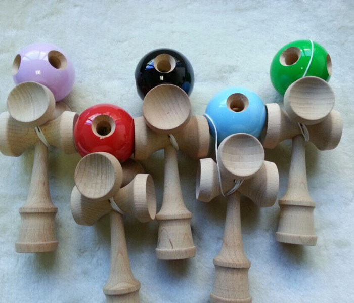 25pcs 20cm 5 Holes 5 Cups Kendama jumbo Kendama Ball Toy Japanese Traditional Wood Game Toy PU Paint & Beech For Child Adult(China (Mainland))
