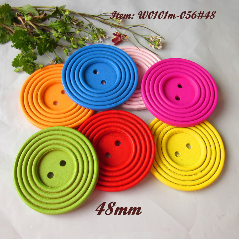 30pcs 48mm Colorful Round Big wood buttons for hat scarves and other decorative buttons Kid's toy scrapbooking accessories(China (Mainland))