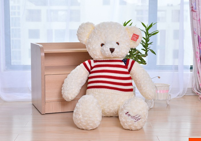 The lovely  teddy bear toy plush toy bear with stripe cloth doll birthday gift about 65cm white<br><br>Aliexpress