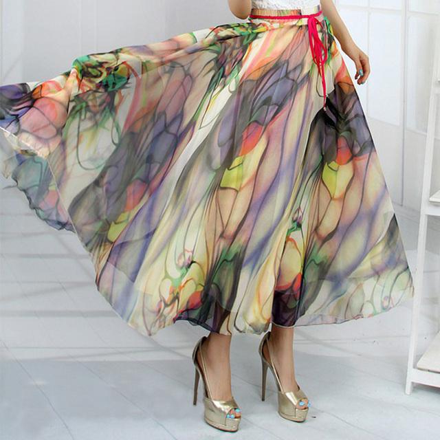 Бесплатная доставка Новый 19 моделей перо павлина поддельные шелка эластичный пояс Big Bottom печатных богемы юбки полным долгосрочным шифон юбка