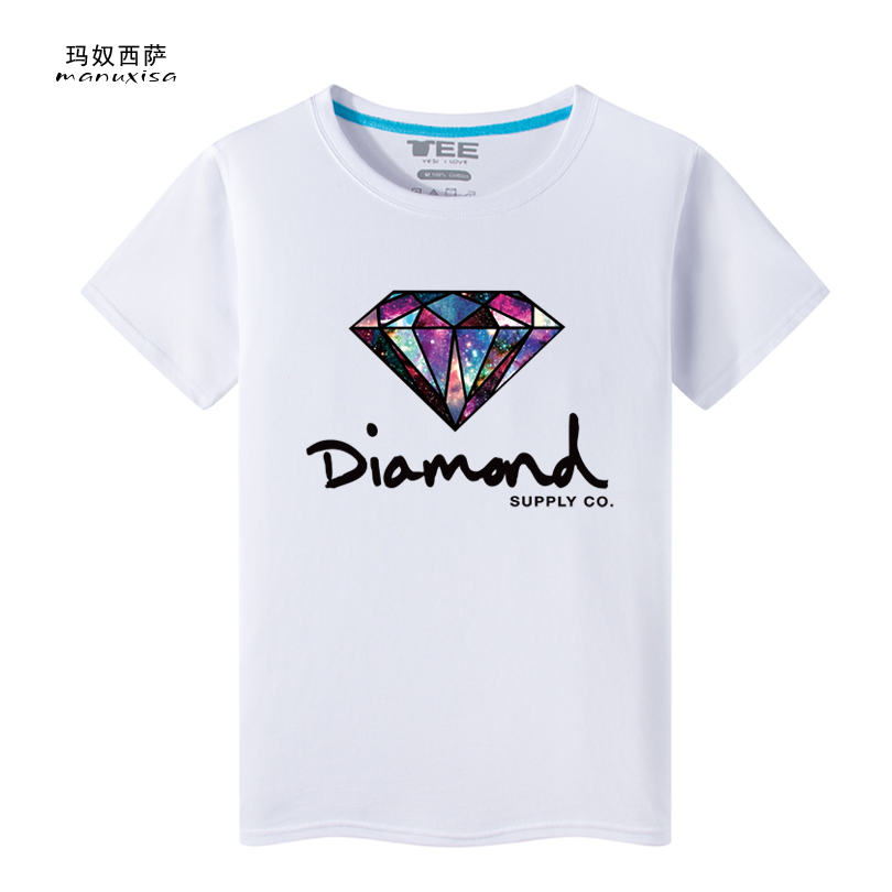 Men 100 Cotton Short Sleeve Diamonds Printed T Shirt 7 Colors TK004(China (Mainland))
