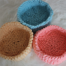 Wholesale 3pc/Lot Various Colors Knitted Thick Yarn Basket Baby Photography Bowl Newborn Pod(China (Mainland))