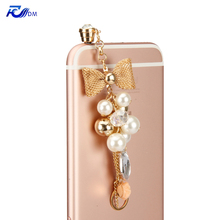 FDM Universal Bowknot and Pearl Pendant Dust Plug Cap for Samsung iPhone 4S 5 5S 6 6S Plus iPod iPad HTC iPhone Earphone Jack