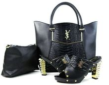 Nice design Italian BLACK matching shoes and handbag set fashion women african high heels with bags 2bags and shoes set