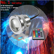 16 Color 10W 12v Underwater RGB Led Light 1000LM Waterproof IP68 Fountain Pool Lamp with IR Remote