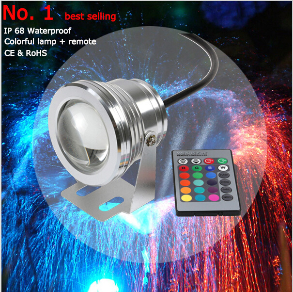 16 Colors 10W 12V RGB LED Underwater Fountain Light 1000LM Swimming Pool Pond Fish Tank Aquarium LED Light Lamp IP68 Waterproof(China (Mainland))