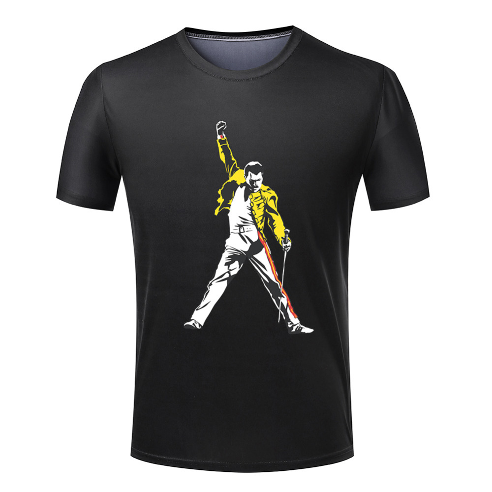 Freddie Mercury Tribute Victory T Shirt Men Polyester Spandex Leisure Funny Male New Fashion Brand Cheap T Shirt Designs(China (Mainland))