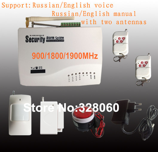Russian/English Voice Wireless GSM Alarm System Security Home Alarm 900/1800/1900MHz(China (Mainland))