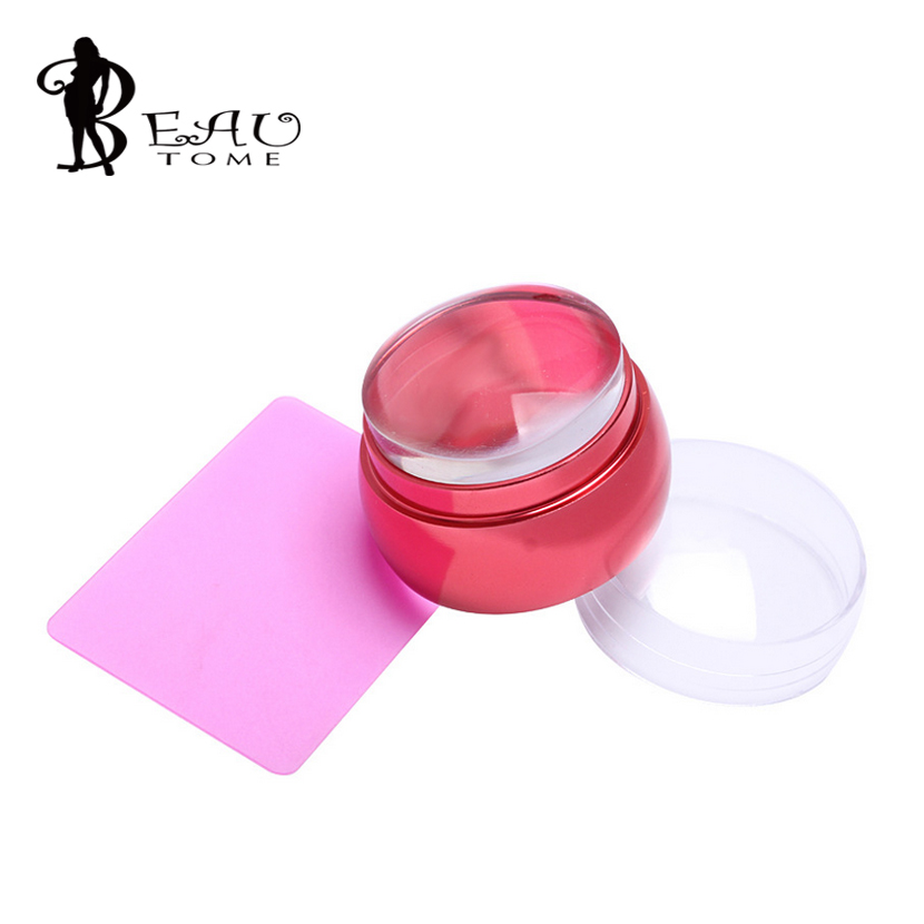 3.5cm Big Head Stamper Stamping Scraper With Cap Metal Handle Pink Clear Jelly Silicone Polish Print Template Tools Nail Art Set(China (Mainland))