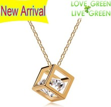 Free Shipping gift bags promotion top high quality Crystal gold plated big real zricon cube Pendant Necklace fashion jewelry(China (Mainland))