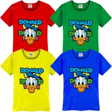 Korean Cute Donald Duck Cartoon Anime Printed Children's T-Shirt For Boys Girls 2015 Short Sleeve T Shirt Camiseta Infantil