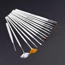 15Pcs Nail Art Polish Painting Draw Pen Brush Tips Tools Set UV Gel Cosmetic Nail tools pinceis nail brush Wholesale White(China (Mainland))