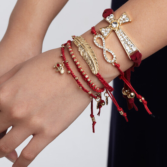 [Min. 6$]Feather Braided Leather Chain Women Bracelet Mix Colors Cheap Jewelry Christmas Gift Braclet S86 - KL Fashion Jewelry-- Store Since 2010 store