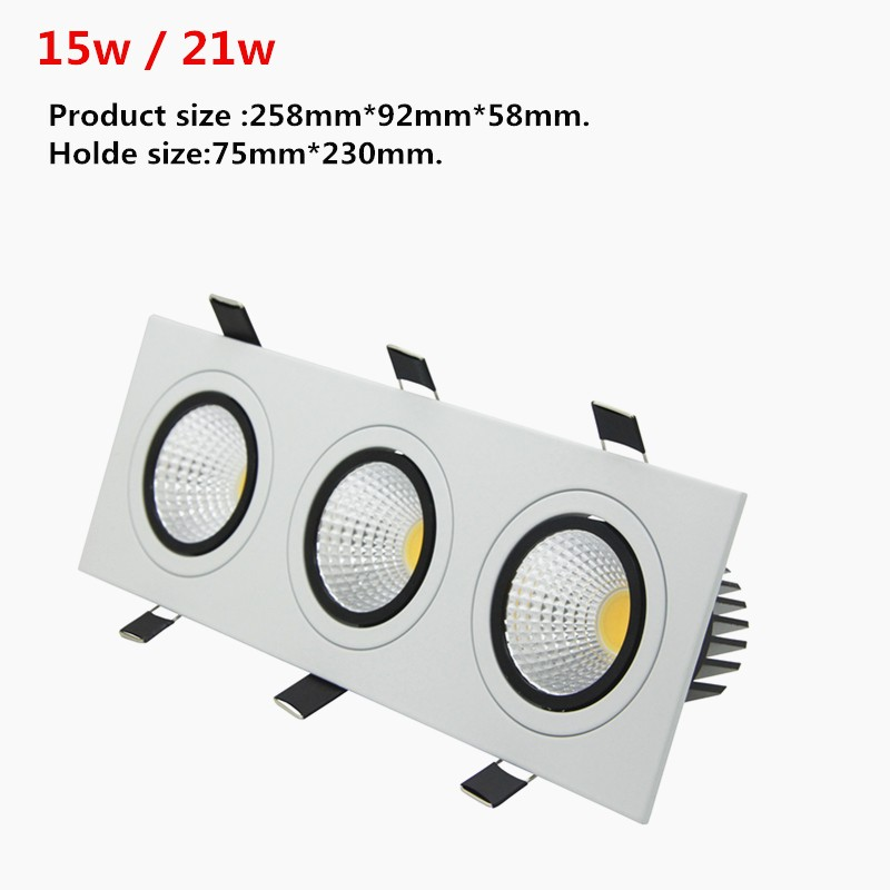 [DBF]Super Bright Recessed LED Dimmable 3 head Square Downlight COB 15W 21W 30W 36w LED Spot light Ceiling Lamp AC 110V 220V