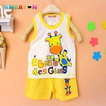 Cartoon Baby Boy Summer Clothes Sleeveless Vest + Shorts Toddler Boys Clothing Soft Cotton Toddler Girl Clothing Ensemble Fille(China (Mainland))