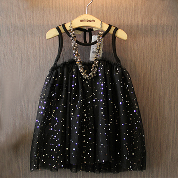 2016 Brand Summer Fashion Children Girls Yarn Dresses Baby Black Sequin Sleeveless Doll Princess Dress Kids Party Clothes(China (Mainland))