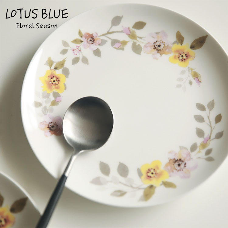 Small yellow pollen flower floral garden style high bone steak dish plate dish 8-inch Western Blue Lotus(China (Mainland))