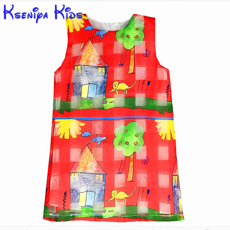 2016 Wholeslae Cartoon Cat Pattern Toddler Girl Dress Graffiti Red Color Organza Kids Dresses For Girls Children Clothing Zk0709(China (Mainland))