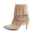 Brand New Sales Black Red Women Ankle Fringe Boots Sexy Lady Evening Tassel Shoes High Stiletto