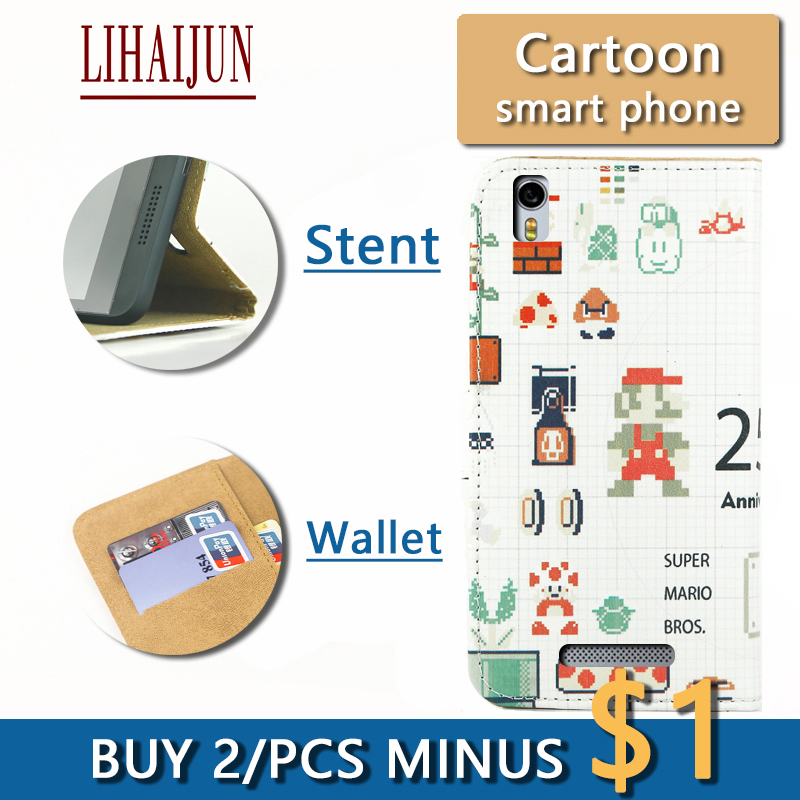 LIHAIJUN Fashion Cartoon Flip Pu Leather TWO Card wallet Phone Case For DEXP Ixion MS250 Sky Case Cover Free Shipping(China (Mainland))