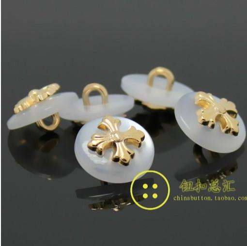 11.5mm White plastic golden Metal Copper golden cross sweater 2-holes button shank Shirts buttons 100pcs/lot free shipping(China (Mainland))