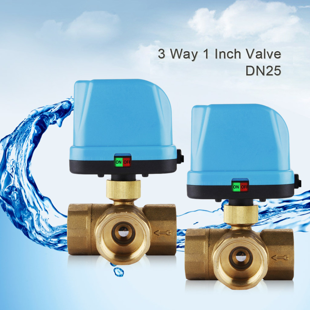 "DN25(G1.0"") 3 Way 220V Motorized Valve Electric Actuator Valve,Cold&hot Water Motorized Ball Valve for Water Control System(China (Mainland))"
