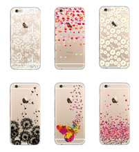 Butterfly Daisy Love Heart Lace Ultra Thin Transparent Soft TPU Phone Case Back Cover for Apple iPhone 5S 6 6S 6Plus Funda Coque
