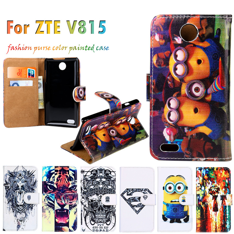 Splendid Anti-knock Flip Holster For ZTE Blade Buzz V815W 4.5 Inch Case Painted Leather Hot Selling Cell Phone Bags Housing Back(China (Mainland))